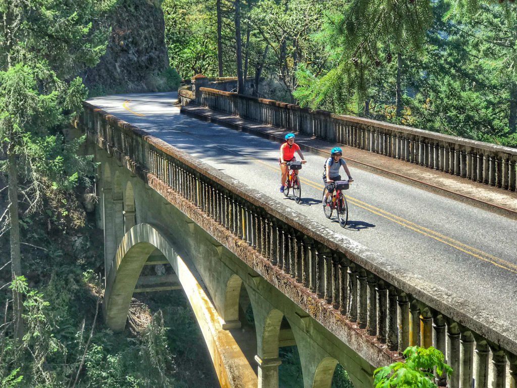 biking the Historic Columbia River Highway past Latourell Falls